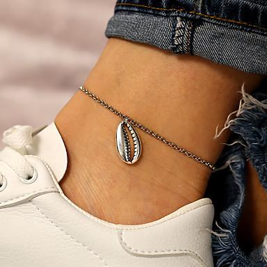 Kadın's Ayak bileği bilezik Çift Kat Kabuk Basit Casual / Sportif Moda Ayak bileziği Mücevher Gümüş Uyumluluk Hediye Günlük Cadde Tatil / 2pcs