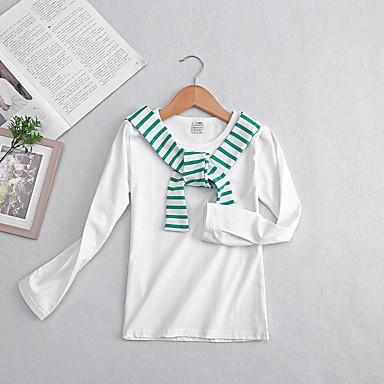 baratos Blusas para Meninas-Infantil Para Meninas Básico Listrado Manga Longa Algodão Camiseta Branco