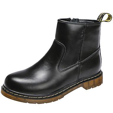 voordelige Dameslaarzen-Unisex Laarzen Lage hak Leer Korte laarsjes / Enkellaarsjes Winter Zwart / Bordeaux / Bruin