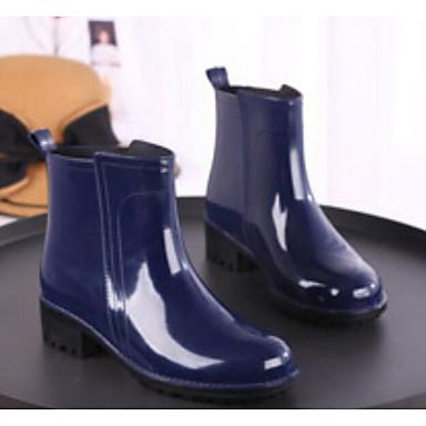 voordelige Dameslaarzen-Dames Laarzen Regenlaarzen Blokhak PVC Kuitlaarzen Lente zomer Zwart / Donkerblauw / Rood