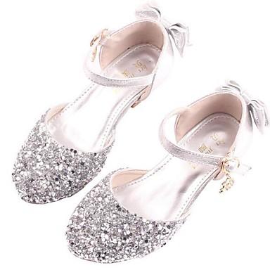baratos Sapatos de Criança-Para Meninas Couro Ecológico Saltos Big Kids (7 anos +) Sapatos para Daminhas de Honra / Salto minúsculos para Adolescentes Cristais / Lantejoulas Prata Primavera / Festas & Noite