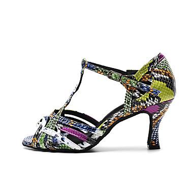 baratos Shall We® Sapatos de Dança-Mulheres Sapatos de Dança Crocodilo Sapatos de Dança Latina Presilha Salto Salto Carretel Personalizável Vermelho Escuro / Verde Tropa / Cinzento Escuro / Espetáculo