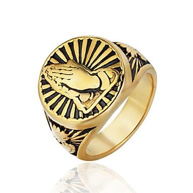billige Motering-Herre Band Ring Ring 1pc Gull Sølv Titanium Stål Sirkelformet Vintage Grunnleggende Mote Karneval Smykker Tro Kul