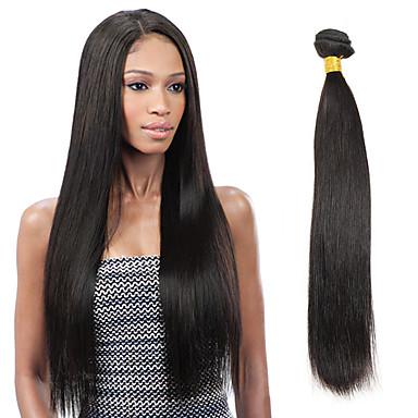 povoljno Perike i ekstenzije-1 paket Indijska kosa Ravan kroj Virgin kosa Ljudske kose plete 8-26 inch Crna Isprepliće ljudske kose Proširenja ljudske kose / 10A
