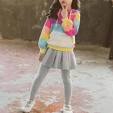 hesapli Kız Çocuk Kıyafet Setleri-Çocuklar Toddler Genç Kız Temel Sokak Şıklığı Dışarı Çıkma Günlük / Sade Çizgili Bağcık Uzun Kollu Kısa Kısa Kıyafet Seti Gökküşağı