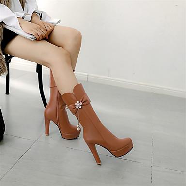 povoljno Ženske čizme-Žene Čizme Stiletto potpetica Okrugli Toe Štras / Umjetni biser PU Čizme do pola lista Jesen zima Crn / Obala / Pink