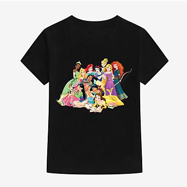 baratos Blusas para Meninas-Infantil Bébé Para Meninas Básico Estampado Estampado Manga Curta Algodão Camiseta Vermelho