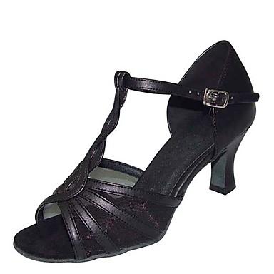 hesapli Latin Dans Ayakkabıları-Kadın's Dans Ayakkabıları Saten / PU Latin Dans Ayakkabıları Payet Topuklular Kıvrımlı Topuk Kişiselleştirilmiş Siyah / Gümüş / Bej / Performans / Deri / Egzersiz