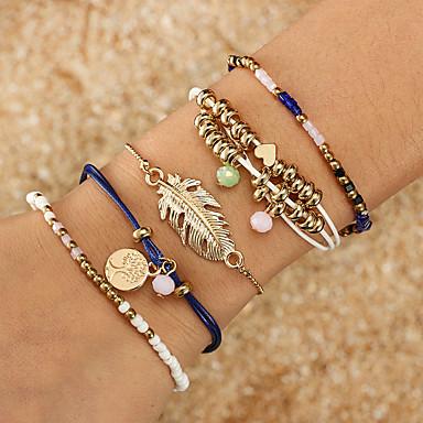 abordables Bracelet-5pcs Bracelet à maillons fait main Femme Tressé Thème floral Plume arbre de la vie Bohème Bracelet Bijoux Bleu pour Cadeau Quotidien Vacances Travail Festival