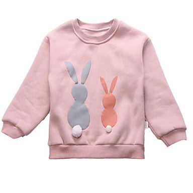baratos Moletons Para Meninas-Infantil Para Meninas Activo Moda de Rua Estampado Estampado Manga Longa Moleton & Blusa de Frio Rosa