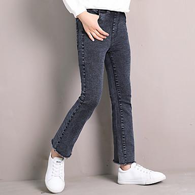 baratos Jeans para Meninas-Infantil Bébé Para Meninas Activo Básico Sólido Franjas Jeans Preto