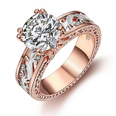 abordables Bague-Femme Bague / Anneaux 1pc Blanche / Champagne Imitation Diamant / Alliage Rond Coréen / Mode / Le style mignon Quotidien Bijoux de fantaisie
