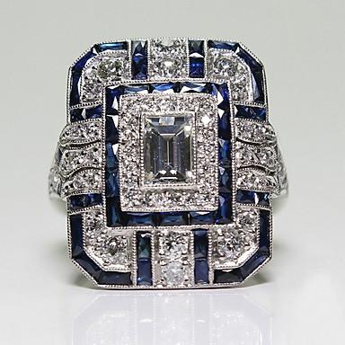 billige Motering-Dame Ring 1pc Blå Fuskediamant / Legering Firkantet Vintage / Koreansk / Mote Daglig Kostyme smykker