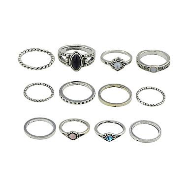 billige Motering-Dame Ring Set 12pcs Gull / Sølv Legering Stilfull / Unikt design / Mote Gave / Daglig / Gate Kostyme smykker / Elefant / Sol / MOON