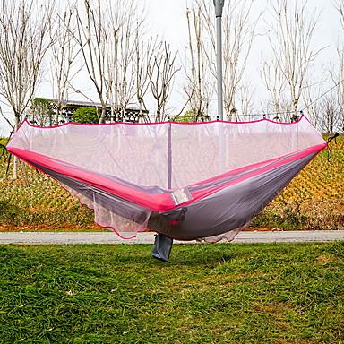 Cibinlikli Kamp Hamağı Açık hava Hızlı Kurulama Modellendirme Esnek ayarlanabilir Kenevir Halatı Naylon Karabina ve Ağaç Askıları için 2 kişi Pembe 360*145 cm