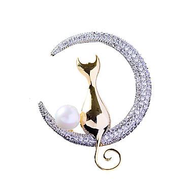 baratos Bijuteria de Mulher-Mulheres Broches Chique Gato Luxo Na moda Elegante Pérola Chapeado Dourado Imitações de Diamante Broche Jóias Dourado Para Casamento Noivado Presente Trabalho Promessa