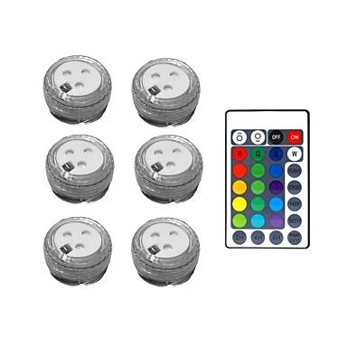 billige Utendørsbelysning-1 sett med 6 stk-med 28 nøkkel fjernkontroll vanntett rgb led-lampe med fjerntliggende nedsenkbare ledelys dekorasjonslys for 3,8 cm