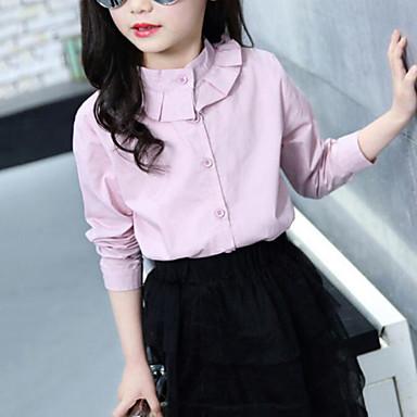 baratos Blusas para Meninas-Infantil Para Meninas Activo Moda de Rua Sólido Frufru Manga Longa Camisa Branco