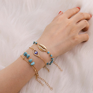 abordables Bracelet-4pcs Bracelet Femme Classique Yeux Précieux Coquillage Luxe Classique Tendance Bracelet Bijoux Dorée pour Cadeau Quotidien Ecole Vacances Travail