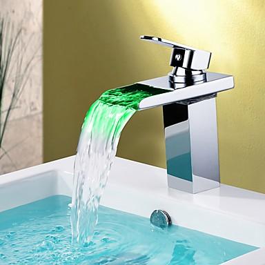 Robinet lavabo - Jet pluie / Couleurs changeantes Chrome Vasque Mitigeur un trouBath Taps / Laiton
