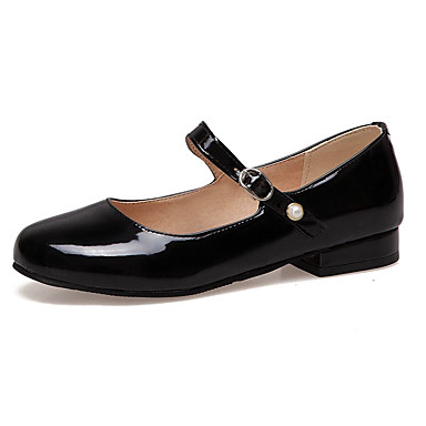 Kadın's Düz Ayakkabılar Düz Taban Yuvarlak Uçlu Patentli Deri Tatlı İlkbahar yaz Siyah / Beyaz / Kırmzı
