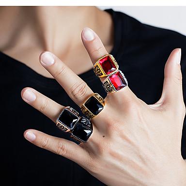 voordelige Dames Sieraden-Heren Bandring Ring 1pc Zilver Grijs Rood Roestvast staal Oostenrijks kristal Stijlvol Vintage modieus Feest Dagelijks Sieraden Sculptuur Bladvorm