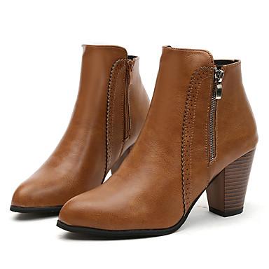 Kadın's Çizmeler Kalın Topuk Sivri Uçlu PU Bootiler / Bilek Botları Sonbahar Kış Siyah / Kahverengi