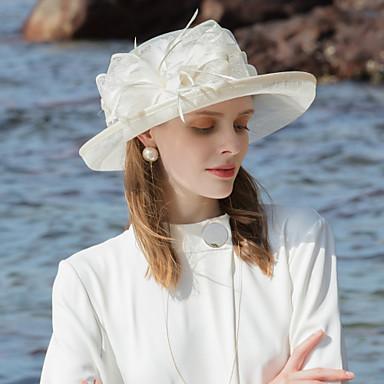 abordables Coiffes-100% Lin Fascinators / Chapeaux avec Plume / Bloc de Couleur 1pc Occasion spéciale / Fête / Soirée Casque