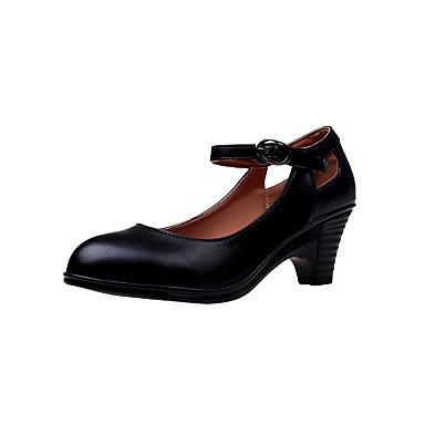 povoljno Ženske cipele-Žene Cipele na petu Kubanska potpetica Okrugli Toe Kopča PU Klasik Hodanje Proljeće ljeto / Jesen zima Crn / Lila-roza