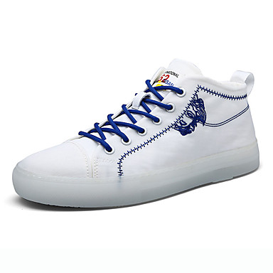 Erkek Ayakkabı Kanvas Bahar Günlük Spor Ayakkabısı Günlük için Siyah / Beyaz / Turuncu