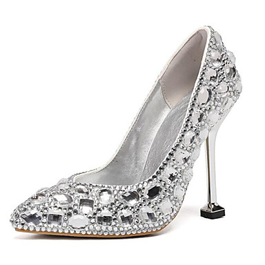 Kadın's Düğün Ayakkabıları Minik Topuk Sivri Uçlu Taşlı PU Tatlı İlkbahar yaz / Sonbahar Kış Mor / Gümüş / Sarı / Parti ve Gece