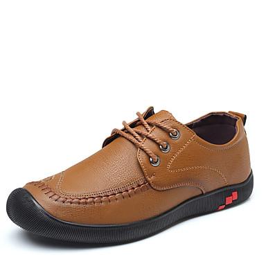 Erkek Ayakkabı PU Bahar Günlük Oxford Modeli Günlük için Siyah / Kahverengi / Haki