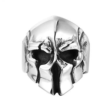 voordelige Herensieraden-Heren Ring 1pc Zilver Titanium Staal Cirkelvormig Vintage Standaard Modieus Club Sieraden Masker Helm Cool