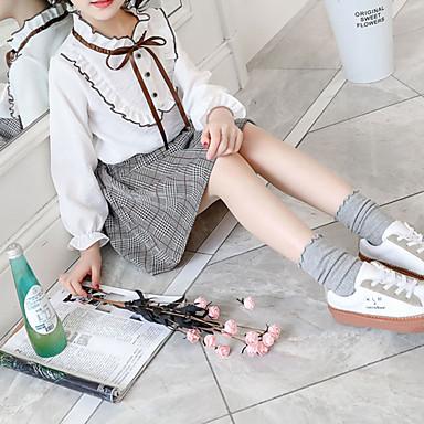 baratos Conjuntos para Meninas-Infantil Bébé Para Meninas Básico Moda de Rua Para Noite Casual Xadrez Laço Frufru Pregueado Manga Longa Curto Curto Conjunto Branco