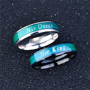 voordelige Dames Sieraden-Voor Stel Ringen voor stelletjes Ring Lichtgevende steen 1pc Zwart Zilver Roestvast staal Cirkelvormig Vintage Standaard Modieus Belofte Sieraden Kroon Cool