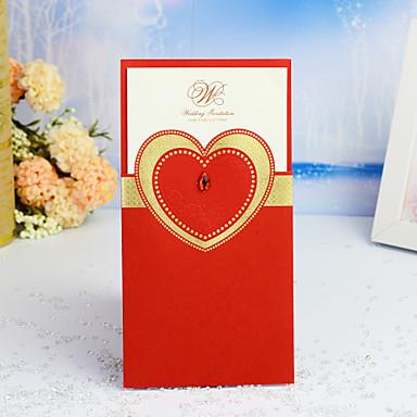 abordables Faire-part mariage-Format Enveloppe & Poche Faire-part mariage 30pcs - Cartes d'invitation / Merci Cartes / Cartes de réponse Cœur / Thème féerique / Style floral Papier nacre 21.5*11.5 cm Bijoux acryliques