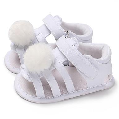 Genç Kız Kanvas Sandaletler Bebekler (0-9m) / Bebek (9 milyon 4ys) İlk Adım Beyaz / Kırmzı / Pembe Yaz