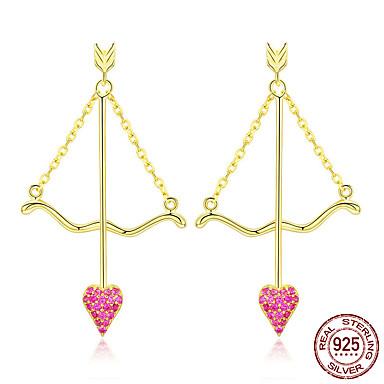 baratos Bijuteria de Mulher-Genuine 925 sterling silver cupid flecha coração rosa brincos para mulheres dia dos namorados jóias bse34023