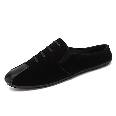 Muškarci Udobne cipele Brušena koža Proljeće Ležerne prilike Klompe i natikače Prozračnost Crn