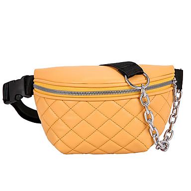 baratos Super Ofertas-Mulheres Ziper PU Bolsa de Cintura Côr Sólida Branco / Preto / Amarelo / Outono & inverno