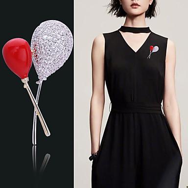 Kadın's Broşlar Fantezi Damla Sıcak hava balonu Lüks moda Tatlı Zarif Renkli Simüle Elmas Broş Mücevher Altın Gümüş Uyumluluk Düğün Hediye Cadde Söz vermek