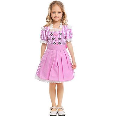 baratos Vestidos para Meninas-Bébé Para Meninas Básico Listrado Franzido Manga Curta Altura dos Joelhos Vestido Rosa