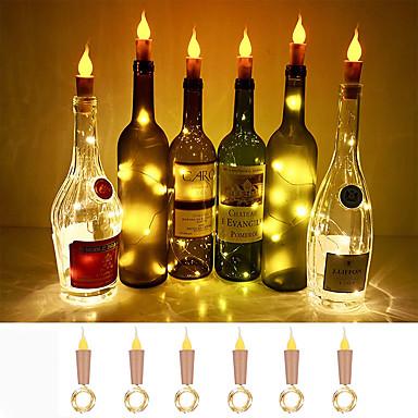 billige LED-stringlys-loende flamme korkformede lys 6-pak brannflaskeflasker lyser batteridrevne levende lys for vinflasker