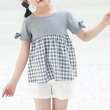 halpa Tyttöjen yläosat-Lapset Tyttöjen Perus Color Block Lyhythihainen T-paita Harmaa