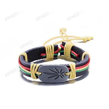 voordelige Herensieraden-Heren Dames Lederen armbanden Retro Bladvorm Vintage Leder Armband sieraden Regenboog Voor Lahja Dagelijks