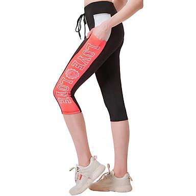 Kadın's Yoga Pantolonları Tozlu Mavi Spor Dalları Moda 3/4 Tayt Koşma Fitness Spor Salonu Egzersizi Aktif Giyim Hafif Nem Emici Hızlı Kuruma Direnç Taytı Yüksek Elastikiyet Dar