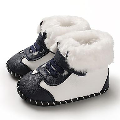 baratos Sapatos de Criança-Para Meninos / Para Meninas Couro Ecológico Botas Crianças (0-9m) / Criança (9m-4ys) Primeiros Passos Preto / Branco / Dourado Inverno