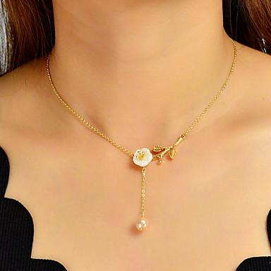 billige Mote Halskjede-Dame Anheng Halskjede Klassisk Blomst Søt Elegant Imitert Perle Chrome Gull 40.5 cm Halskjeder Smykker 1pc Til Engasjement Gave Daglig
