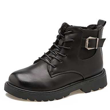 voordelige Dameslaarzen-Dames Laarzen Lage hak Ronde Teen PU Korte laarsjes / Enkellaarsjes Herfst winter Zwart / Bruin