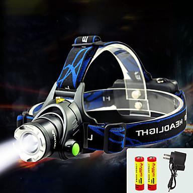 billige Lommelykter & campinglykter-TD286 Hodelykter Frontlys til sykkel LED Cree® T6 1 emittere 800 lm med batterier og lader Zoombare Vanntett Justerbart Fokus Camping / Vandring / Grotte Udforskning Sykling Reise